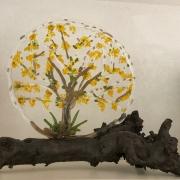 gefused glas, open werk werk goudenregen,  Sippie Ouwehand