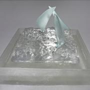 ,algesmolten glas, glas, water en zeilen gefudes glas,Han Driessen